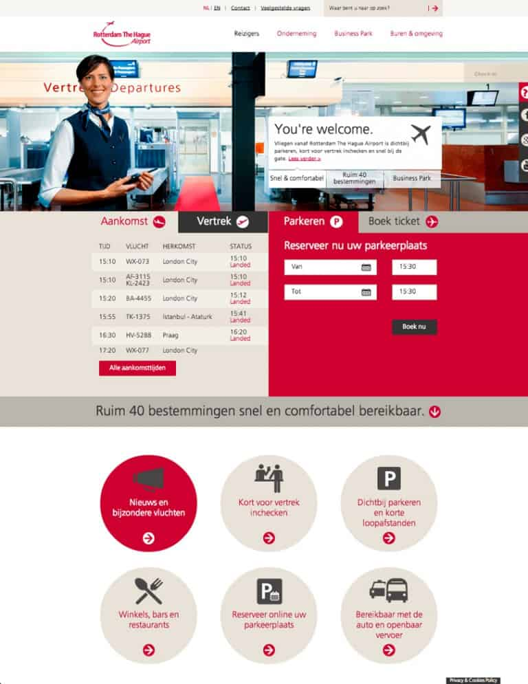 rotterdam the hague airport homepage
